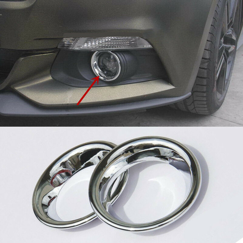 Chrome Front Bumper Fog Light Frame Cover Moulding Trim
