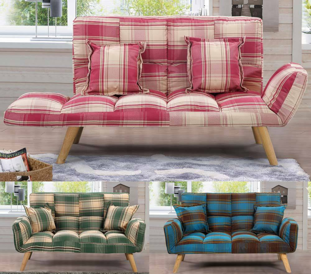 modern cool fabric small 2 seater sofa tartan plaid style. Black Bedroom Furniture Sets. Home Design Ideas