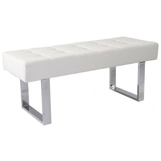 Austin Dining Bench In White Faux Leather With Chrome Base