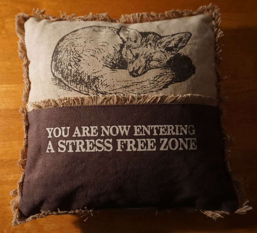 Now entering a stress free zone sleeping fox pillow cabin for Home decor zone