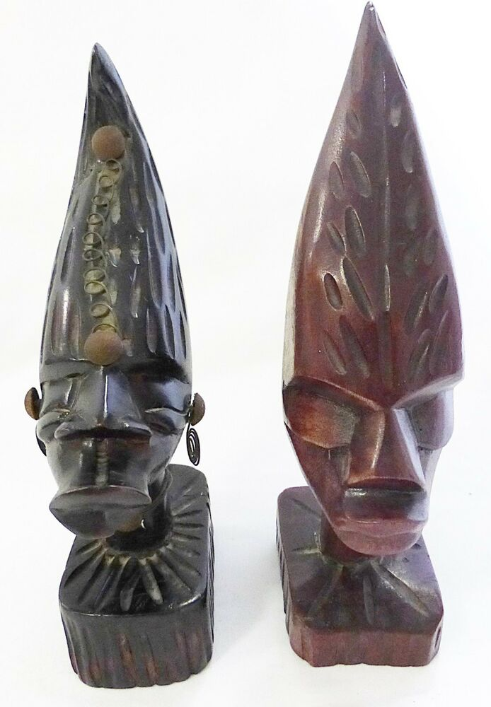 Wood Carved African Figure Head Carving Set Of Two Man And