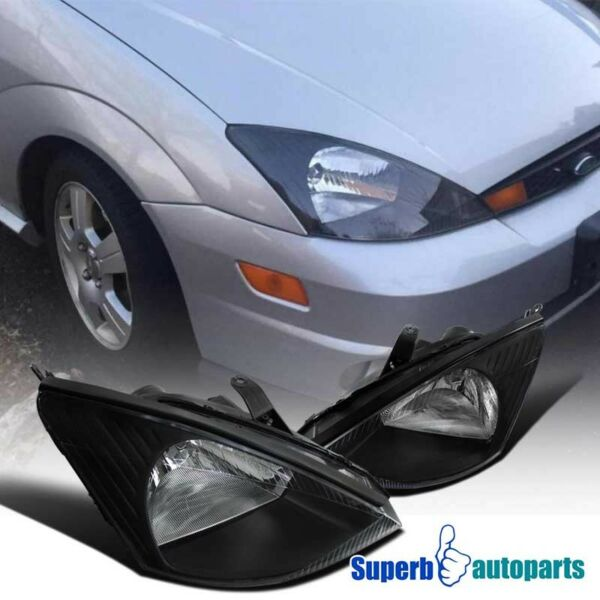 00-04 Ford Focus Assembly Black Headlights Driving Head Lamps Pair Replacement