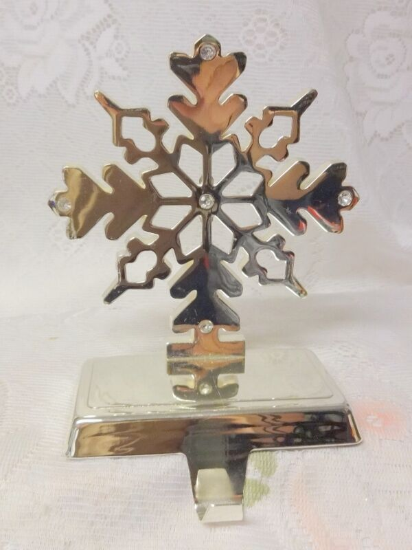 Christmas silver tone snowflake mantel hook stocking