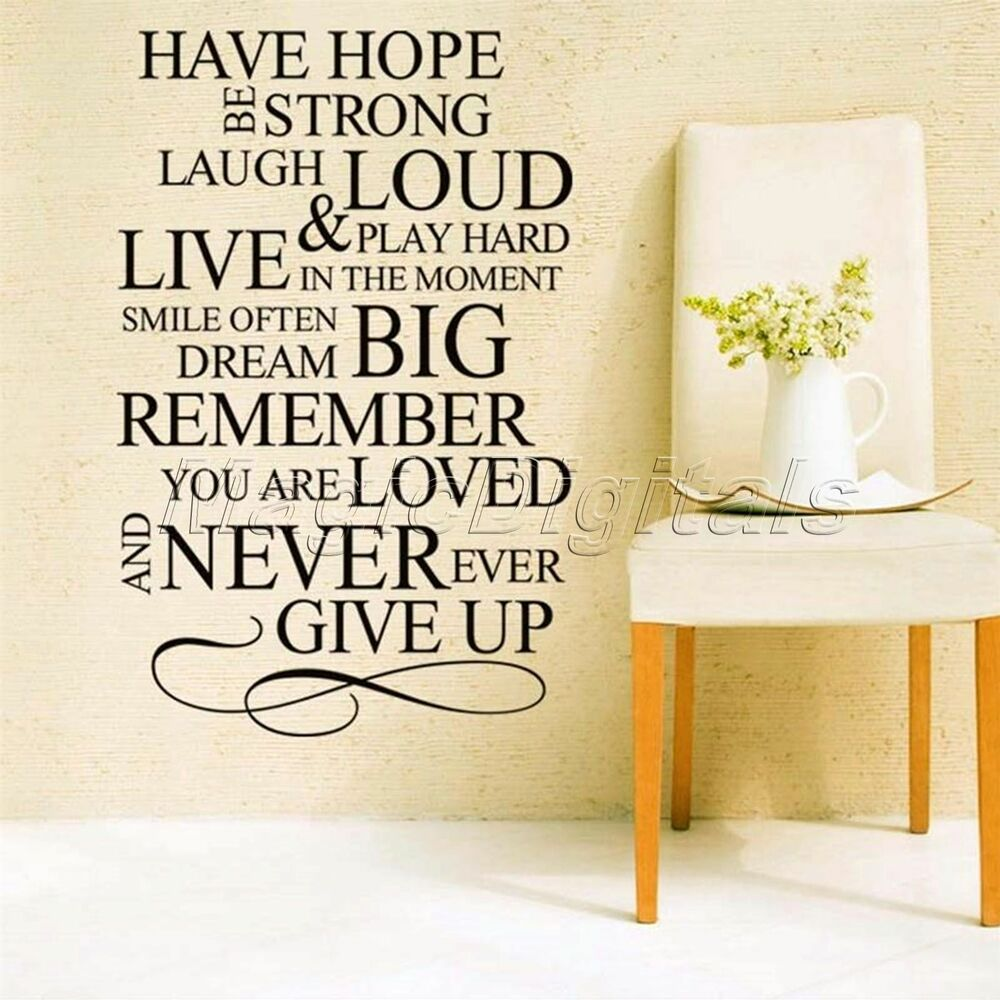 Have Hope Be Strong Quote Words Art Letters Wall Decal Sticker Home ...