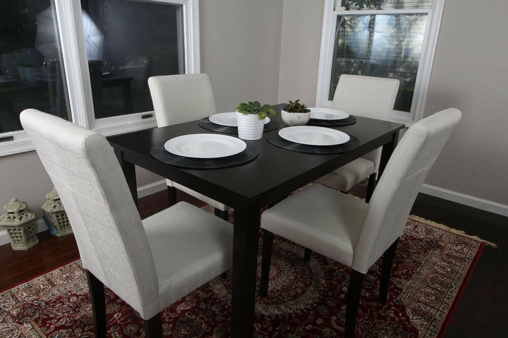 5pc Espresso Dining Room Kitchen Set Table 4 BEIGE Fabric  : s l1000 from www.ebay.com size 1000 x 667 jpeg 91kB