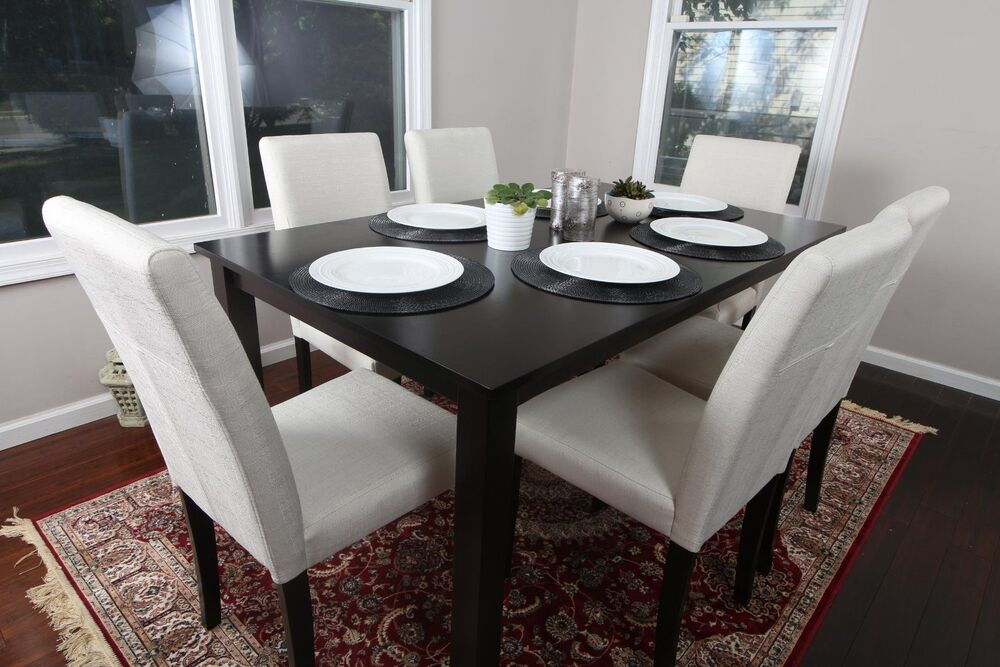 7pc espresso dining room kitchen set table 6 beige fabric for Kitchen table set 6 chairs