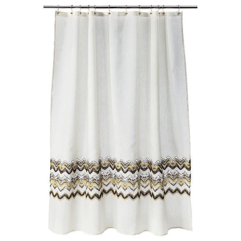 threshold gray and yellow chevron fabric shower curtain 72 x 72 nip ebay. Black Bedroom Furniture Sets. Home Design Ideas