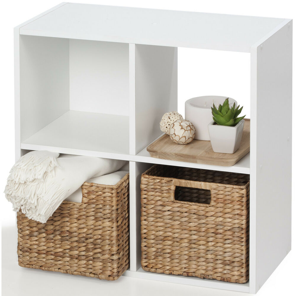 Living Room With Bookshelf: Storage Unit 4 Cube White Bookcase Display Shelf Showcase