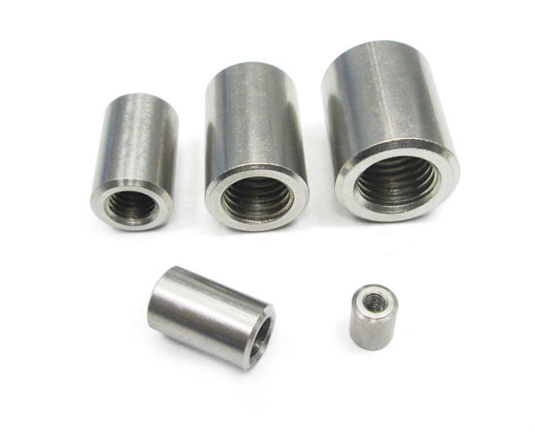 Stainless Steel Threaded Couplers : Select size m round fine threaded rod coupling nuts