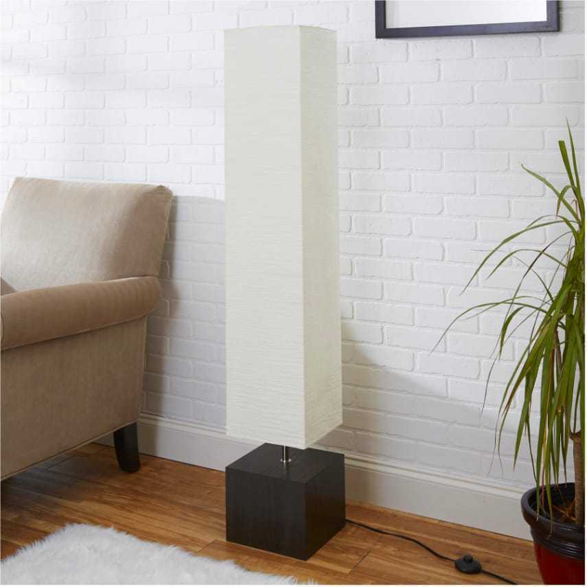 Rice paper floor lamp white shade wood finish square for Living room paper