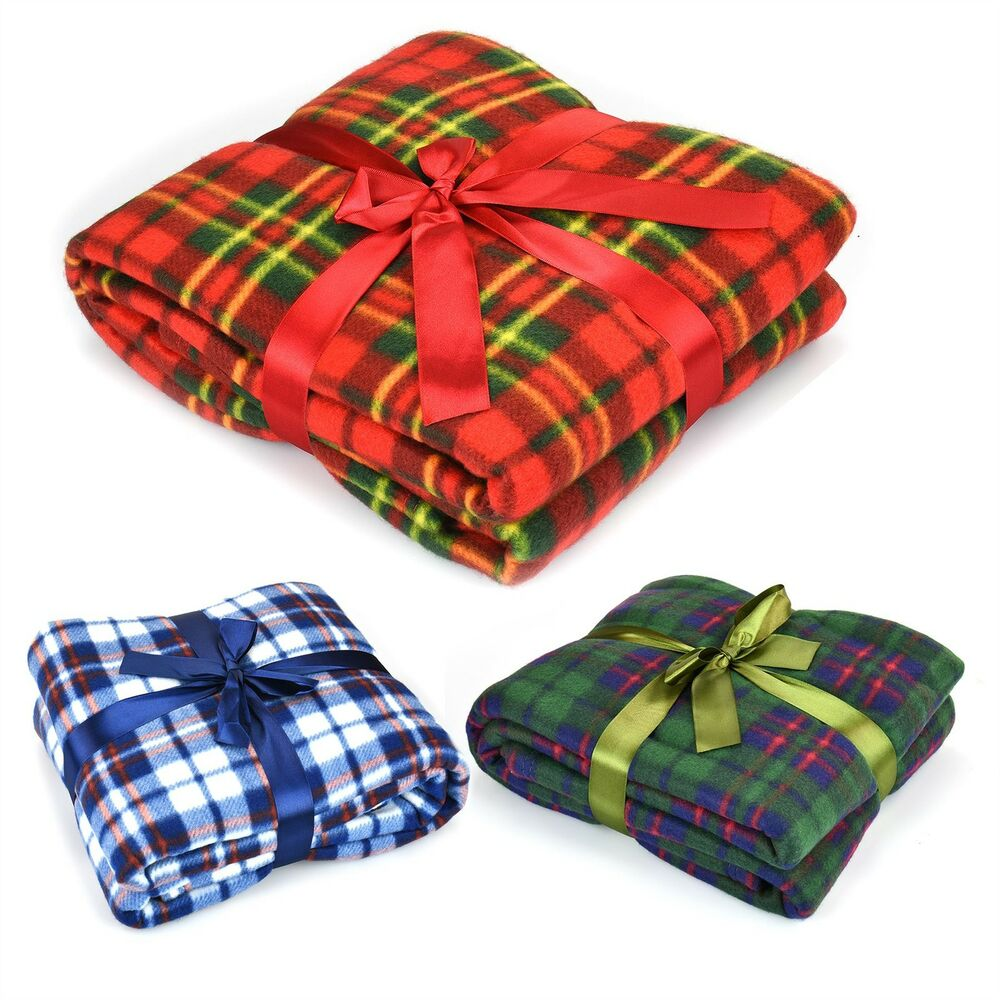 Soft Flannel Fleece Sofa Bed Blanket Throw Chequered