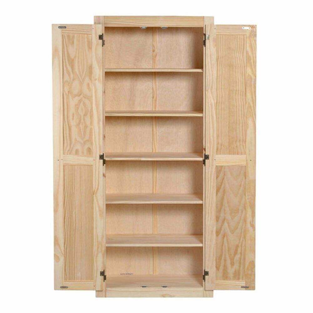 Kitchen Storage Shelf: Kitchen Pantry Storage Cabinet Unfinished Pine Wood 6