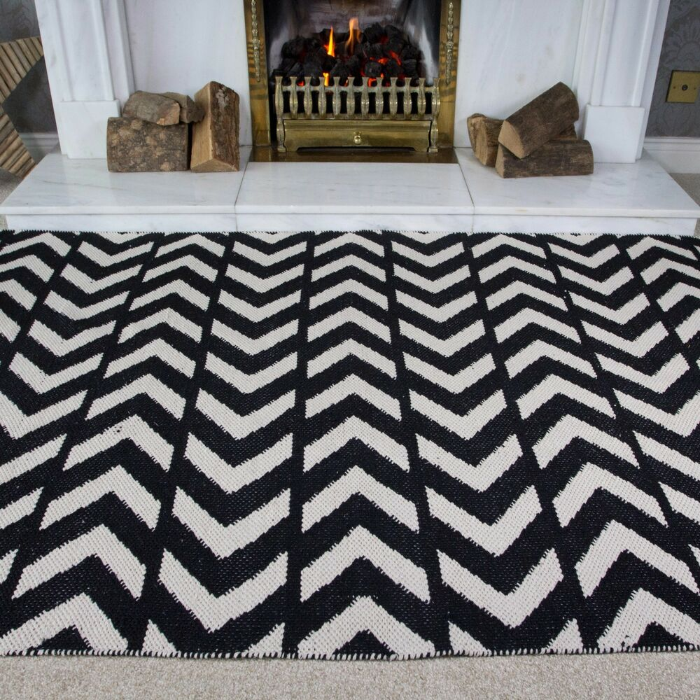 Black And White Rug Ebay Uk: NEW Black White Modern Contemporary Zig Zag Chevron Design