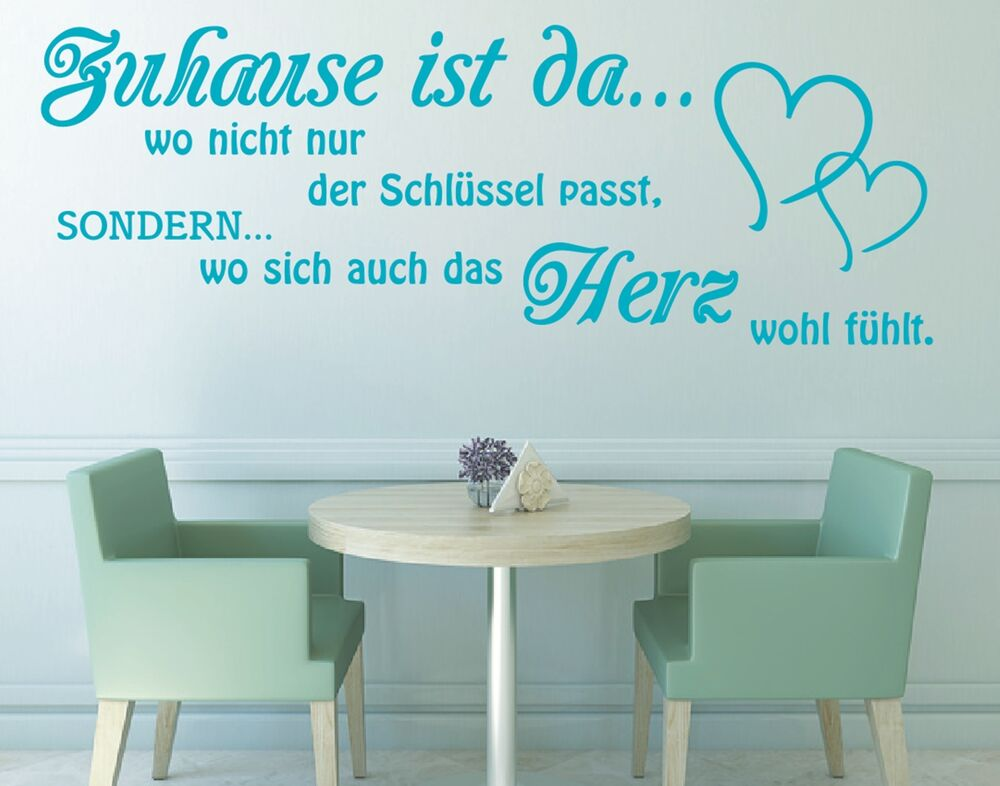 x240 wandtattoo spruch zuhause ist da wo nicht schl ssel herz wandaufkleber ebay. Black Bedroom Furniture Sets. Home Design Ideas