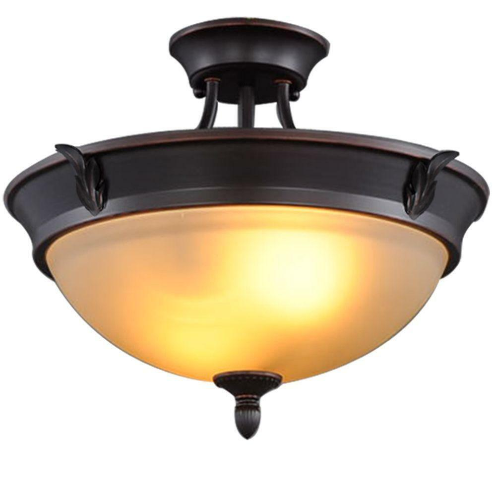 Hampton Bay Ceiling Light Fixtures: Hampton Bay 2-Light Bronze Semi-Flush Mount Light