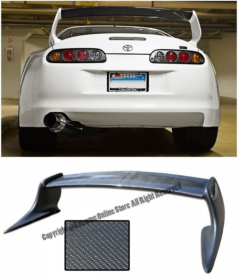 72c8f694041c Details about T-Style Carbon Fiber Rear Trunk Wing Spoiler JZA80 MK4 For  93-98 Toyota Supra