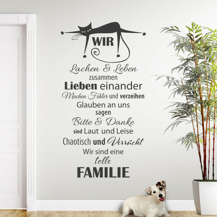 wandtattoo wandsticker wandaufkleber flur spruch familie gl ck liebe katze w1326 ebay. Black Bedroom Furniture Sets. Home Design Ideas