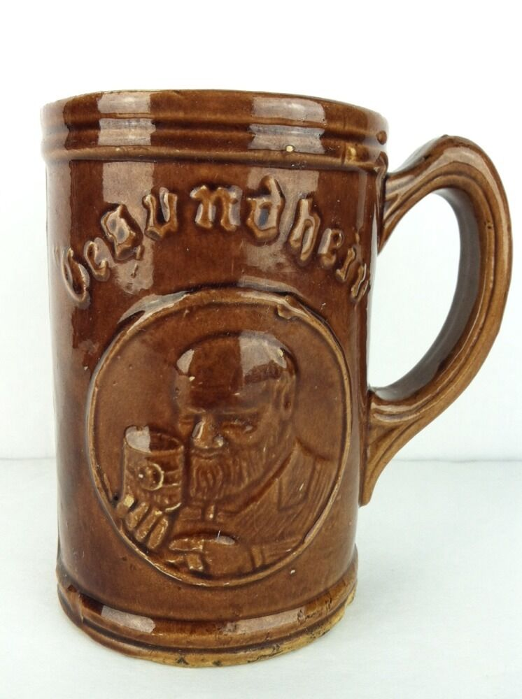 gesundheit pottery german beer stein mug altes rathaus muenchen vintage ceramic ebay. Black Bedroom Furniture Sets. Home Design Ideas