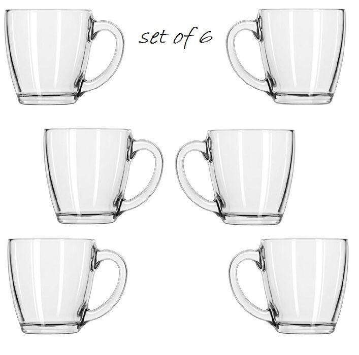 Coffee Mug Set 4 Large Glass Tea Chocolate Drinking Juice