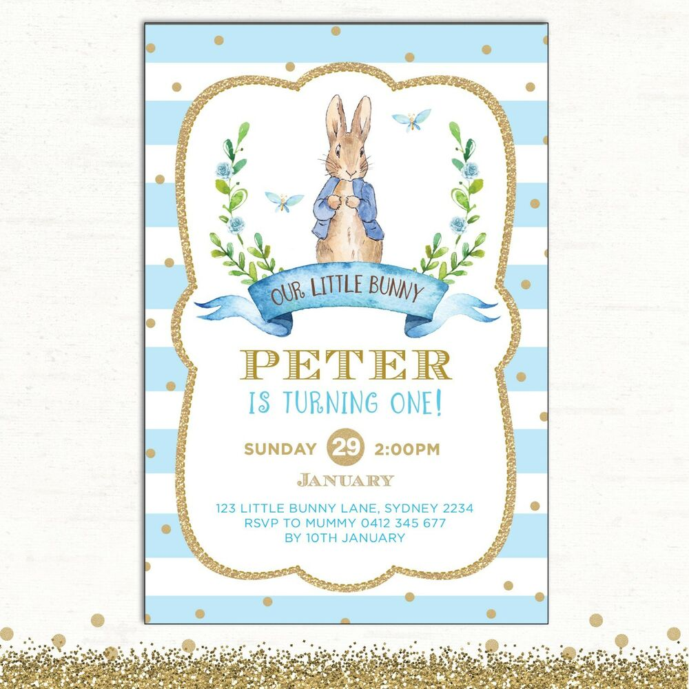 Details About Peter Rabbit Invitation 1st Birthday Blue Gold Baby Shower Party Invite Baptism