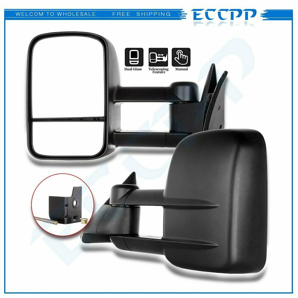 left right 1988 1998 chevy gmc c k 1500 2500 telescoping tow manual side mirrors ebay. Black Bedroom Furniture Sets. Home Design Ideas