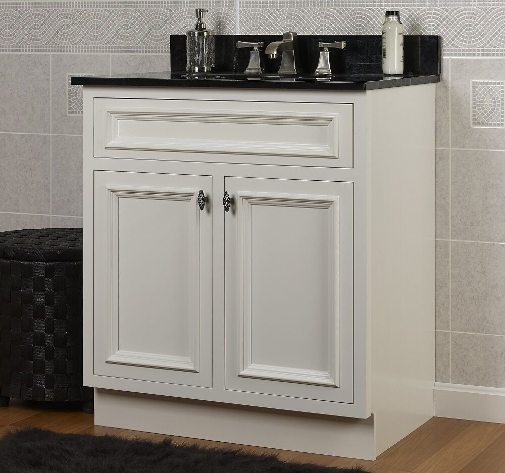 Jsi danbury white bathroom 24 w vanity cabinet base 2 doors solid wood frame new ebay Solid wood bathroom vanities cabinets