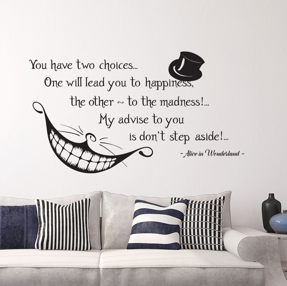 Alice In Wonderland Book Quotes: Alice In Wonderland Quote Wall Vinyl Decals Cheshire Cat