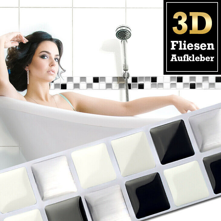 7x 3d fliesenaufkleber wandaufkleber k che bad. Black Bedroom Furniture Sets. Home Design Ideas