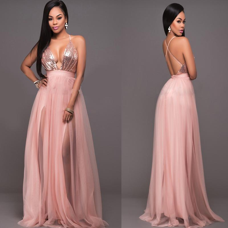 Rose Gold Prom Silvers: Women Plunge V Neck Halter Blush Tulle Rose Gold Sequins