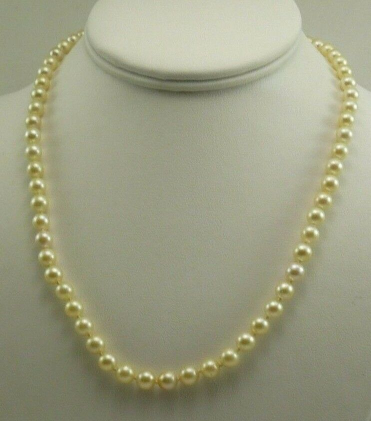 6a4f4fb835219 Akoya 6.1mm to 6.4mm Golden Pearl Necklace with 14k Yellow Gold ...