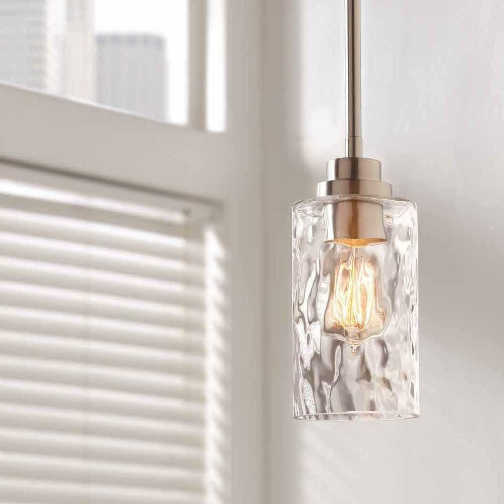 Home Decorators 1 Light Brushed Nickel Mini Pendant With Clear Hammered Glass Ebay