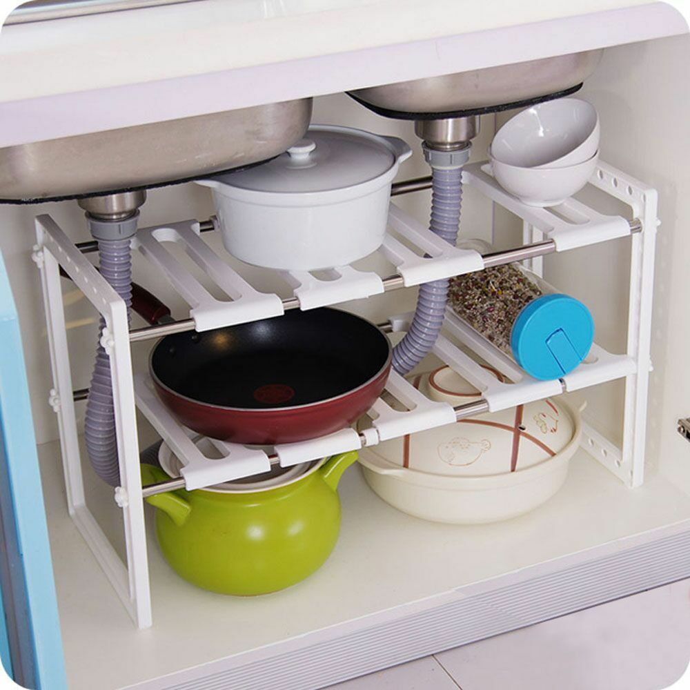under sink 2 tier expandable adjustable kitchen cabinet shelf storage organizer ebay. Black Bedroom Furniture Sets. Home Design Ideas