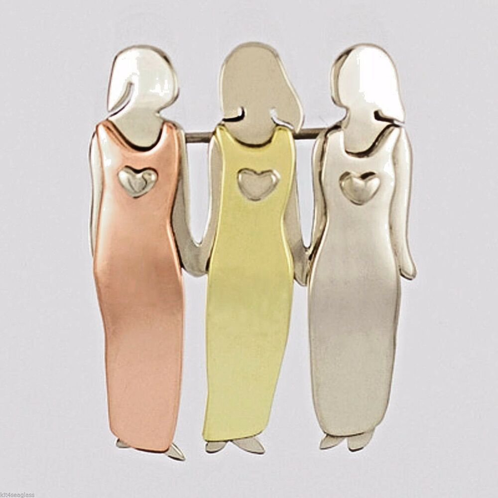 Far Fetched 3 SISTERS PIN Brooch Three Mima & Oly Family ...