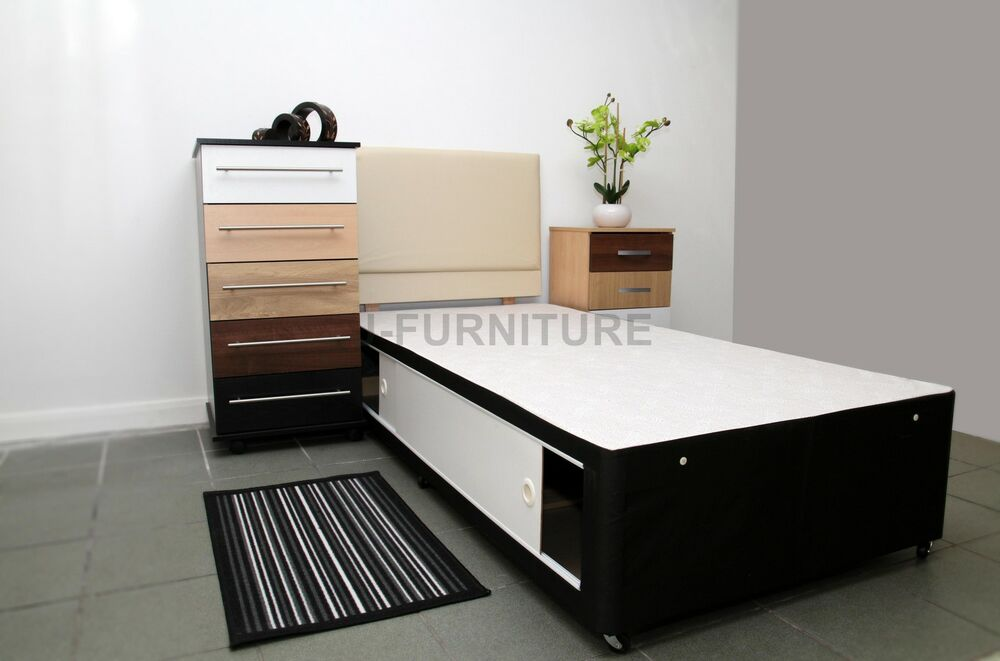 2ft6 3ft divan bed base with no mattress storage drawers for Cheap divans with drawers