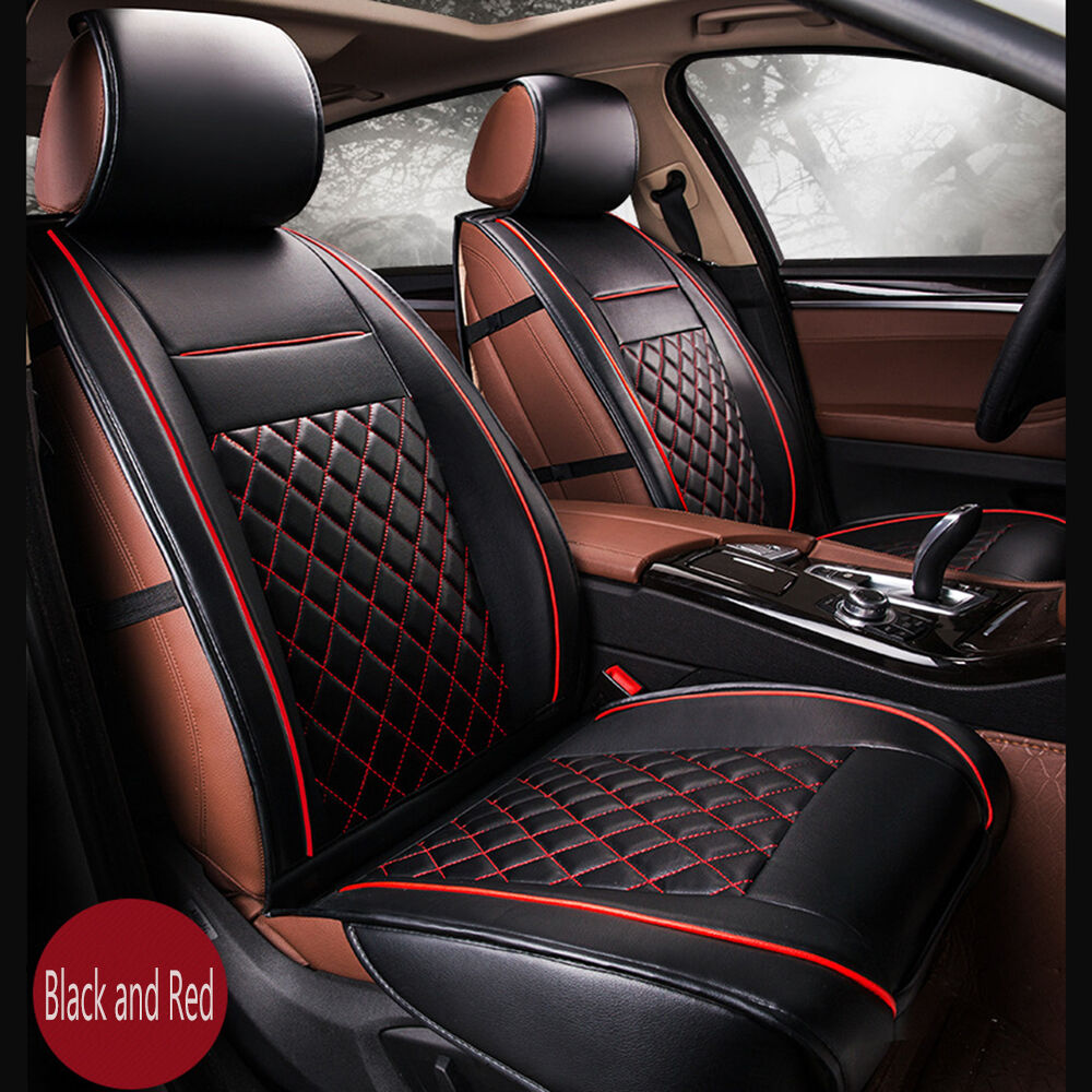 Luxury Breathable PU Leather Car Seat Covers Cushion Black