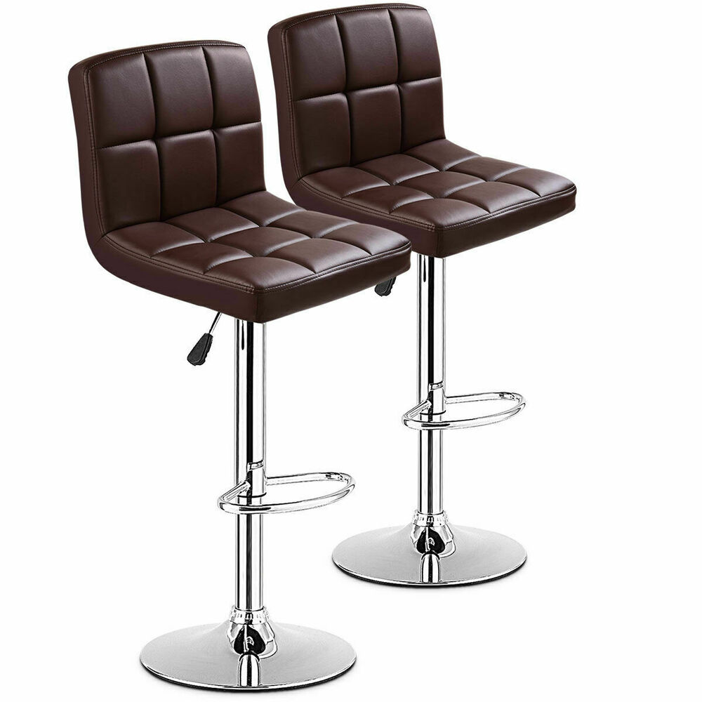 Set Of 2 Bar Stools Pu Leather Adjustable Barstool Swivel