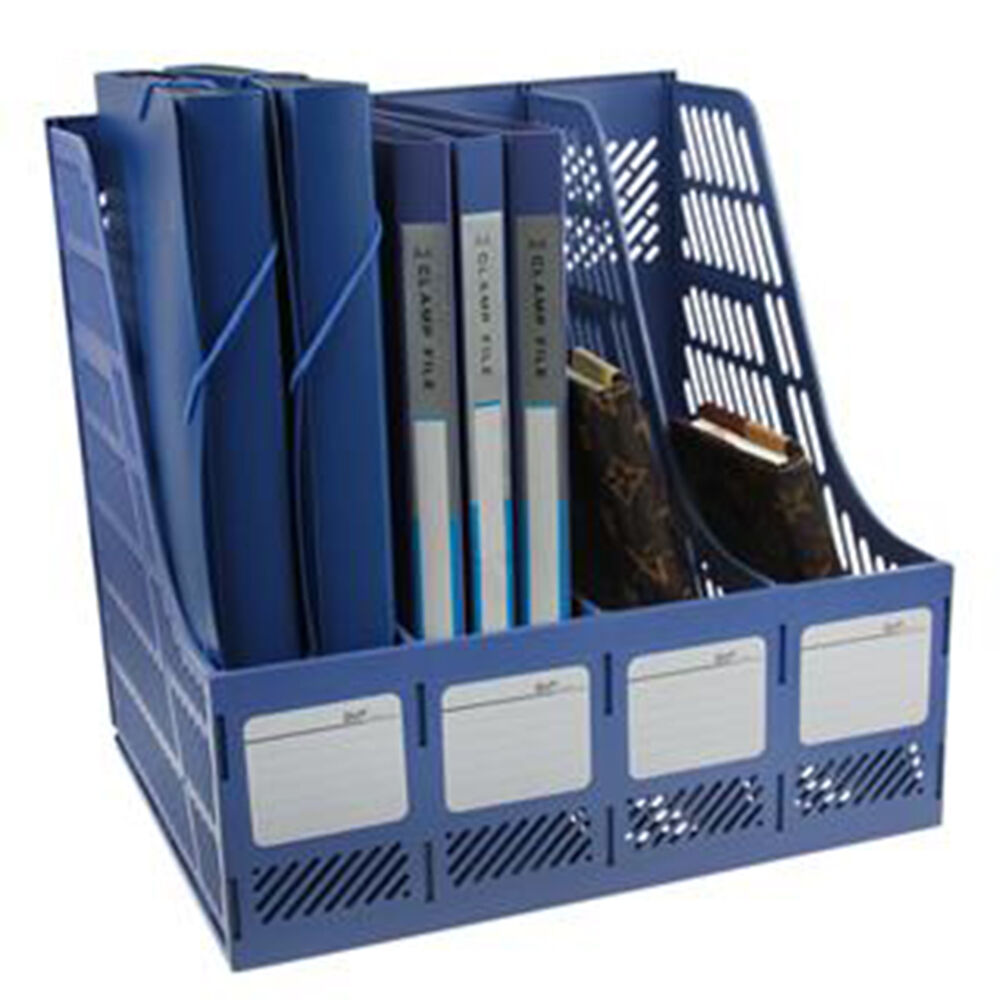 2 x magazine file organiser holder lever arch filing rack desk tidy storage blue ebay. Black Bedroom Furniture Sets. Home Design Ideas