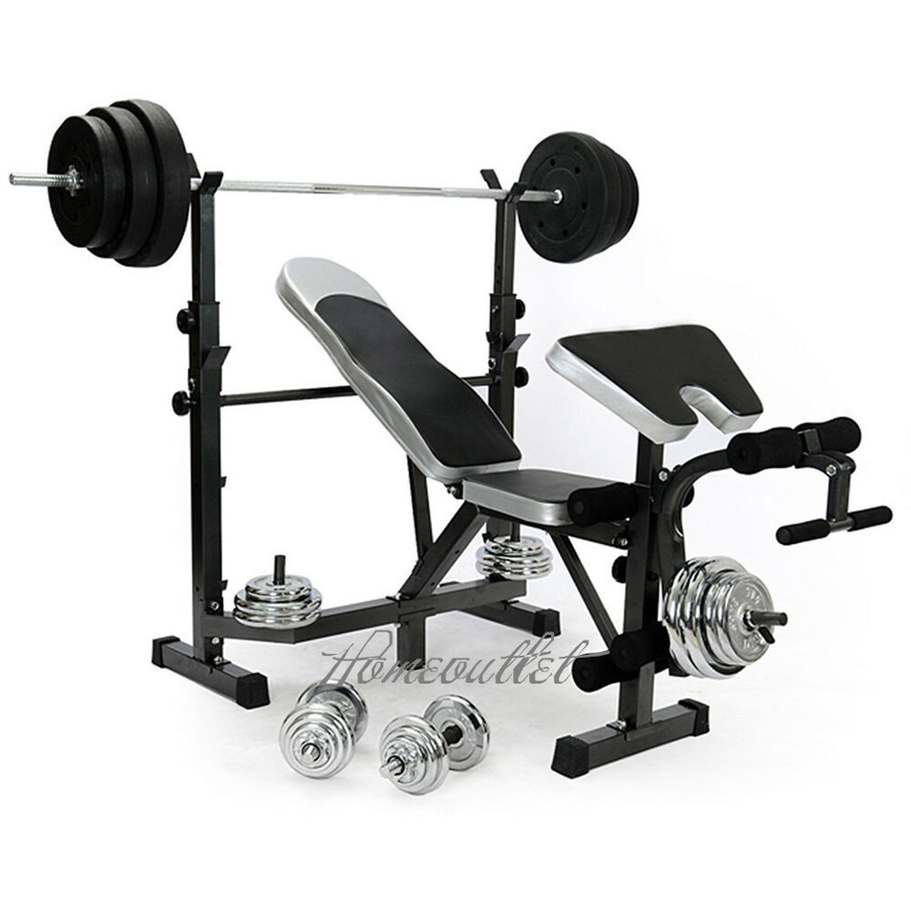 Free Weights On Bench: HOME MULTI GYM WEIGHT BENCH ARM LEG CURL EQUIPMENT FITNESS