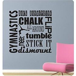 24'' Gymnastics Sports Saying Collage Handspring Tumble Wall Decal Sticker Home