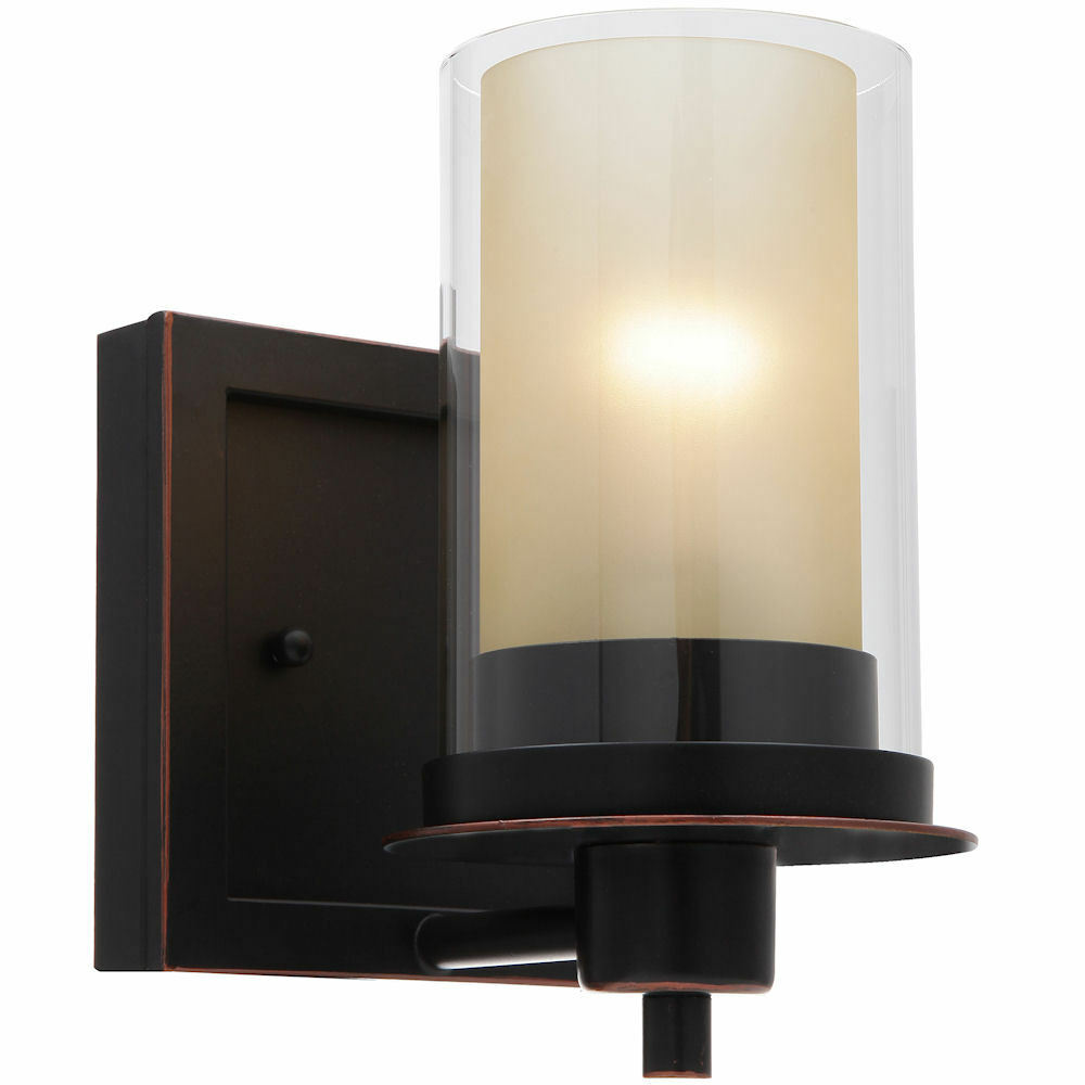 Oil rubbed bronze juno series 1 light bath wall fixture - Bathroom lighting oil rubbed bronze ...