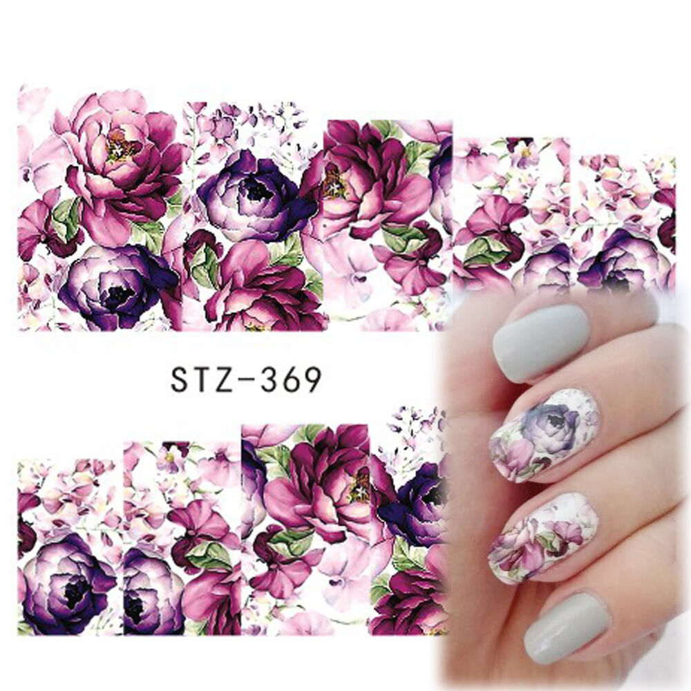Nail Art Stickers: Nail Art Water Decals Stickers Transfers Deep Purple