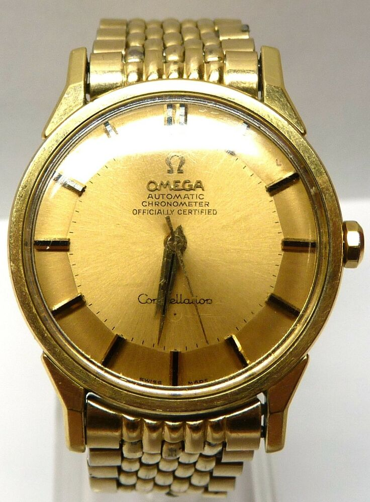 Vintage omega constellation automatic gold tone watch 35mm ebay for Omega watch constellation