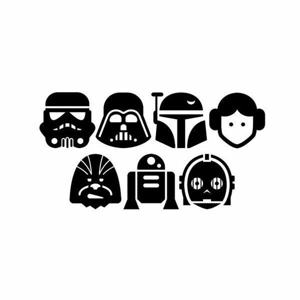 Star Wars Characters Vinyl Sticker Decal leia trooper yoda