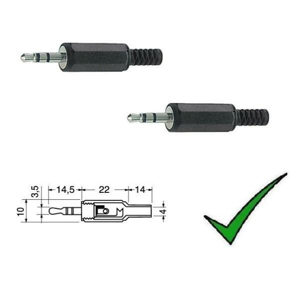 2pz Spina JACK 3,5mm STEREO Volante Connettore spinotto spina maschio 3,5mm