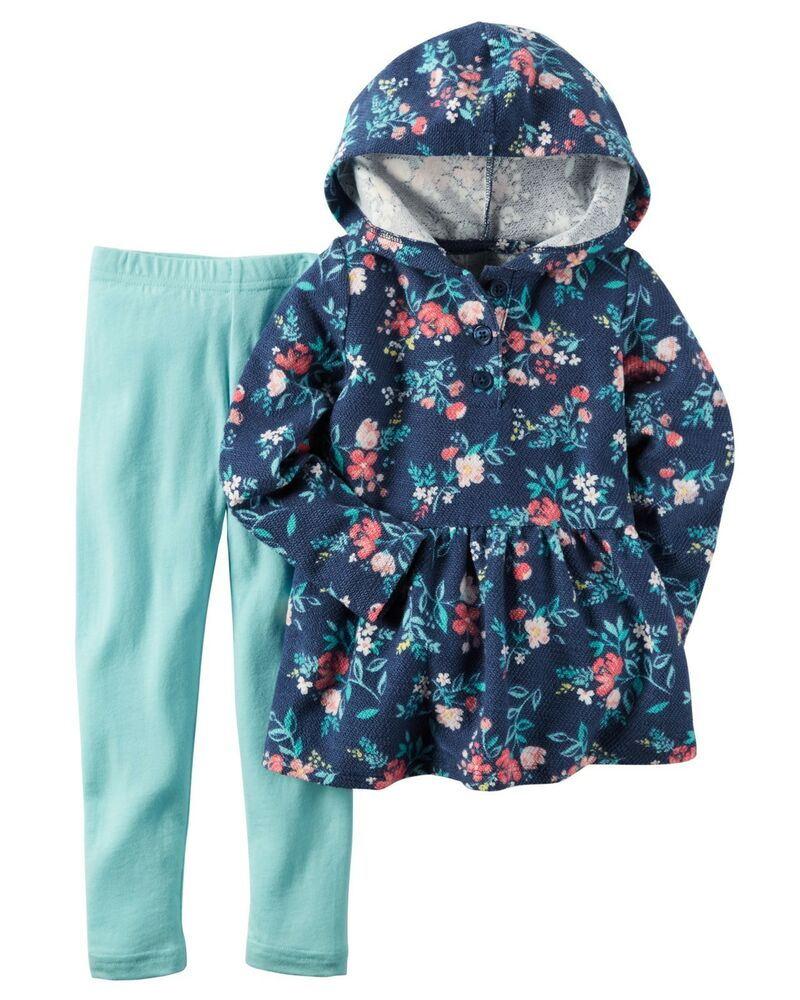 24e1c0e7d Carter s Infant Girls 2 Piece Outfit - Navy Floral Top with Hoodie ...