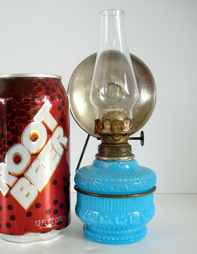 Wall Mounted Oil Lamp With Reflector : Miniature Antique Wall Mount BLUE OIL LAMP w/Bracket & Reflector mini glass eBay