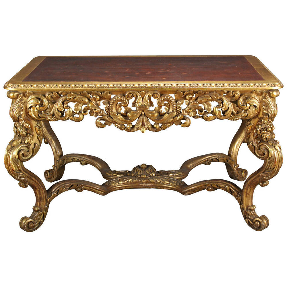 A Large Italian Carved Gilt Wood Rococo Style Rectangular