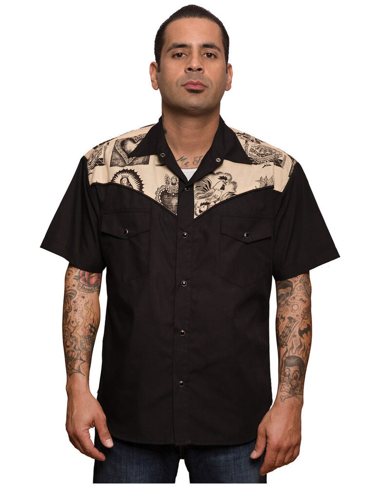 Steady clothing mezcal western mens black work shirt for Men s classic dress shirts