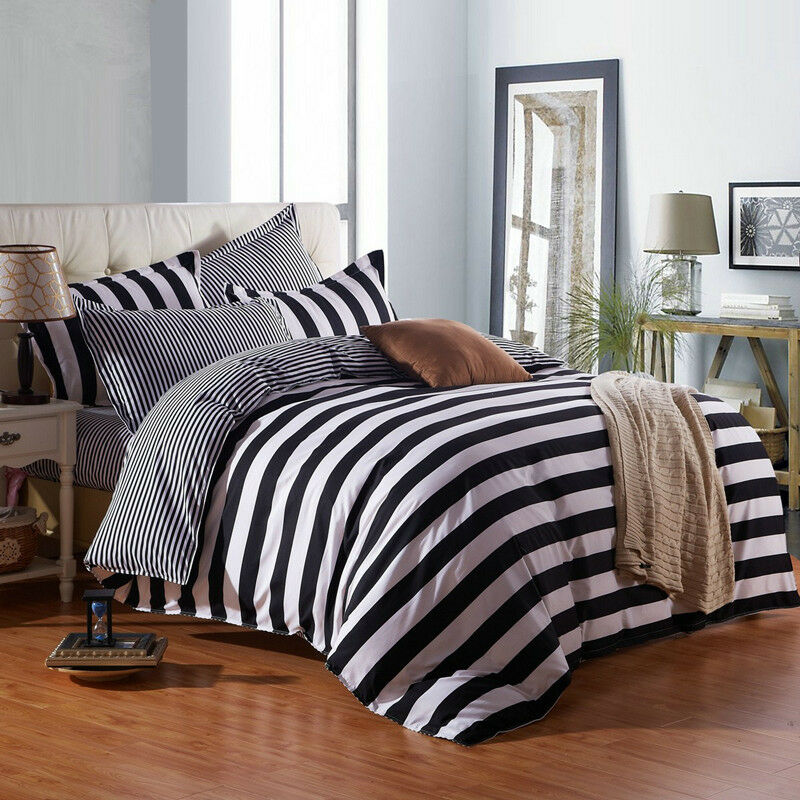 Black And White Striped Duvet Cover Sets King Queen Full