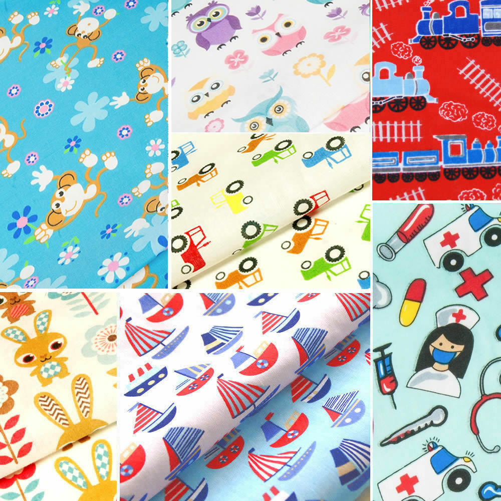 Childrens fabric fat quarters kids baby polycotton for Childrens dress fabric